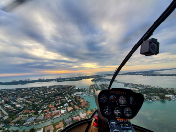 View of the city from a helicopter