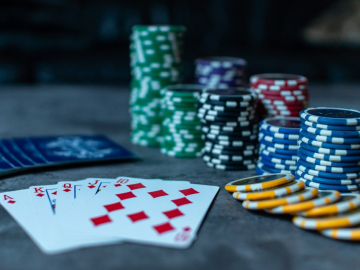 A picture showing poker chips and cards.