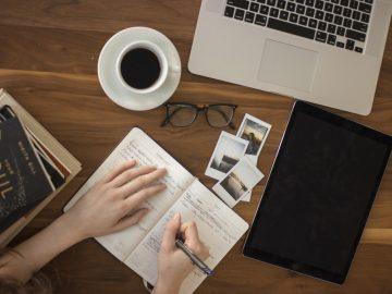 a female writer working on a script.