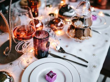 Dinner table set with Christmas décor