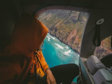 ocean view from the helicopter