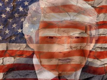 Trump's image in the American flag