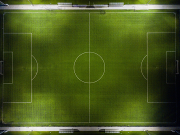 An aerial view of a football ground