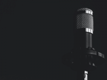 The microphone in a recording studio