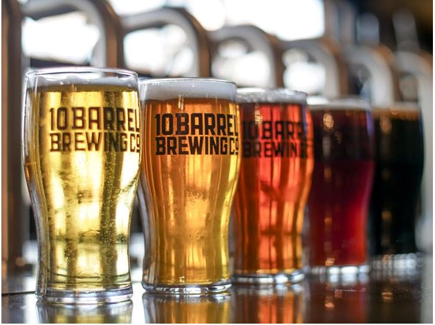Pint glasses full of beer