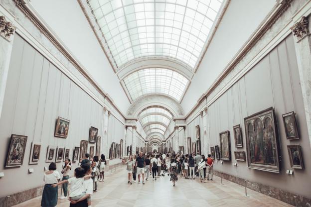 People enjoying in an art gallery