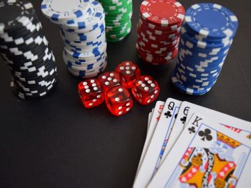 a deck of cards and dice