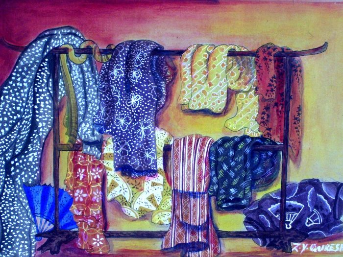 'Judge by your attire' is a symbolic painting showing various clothing items and accessories on a rack.