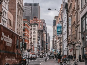 A Street on an Overcast Day in New York City