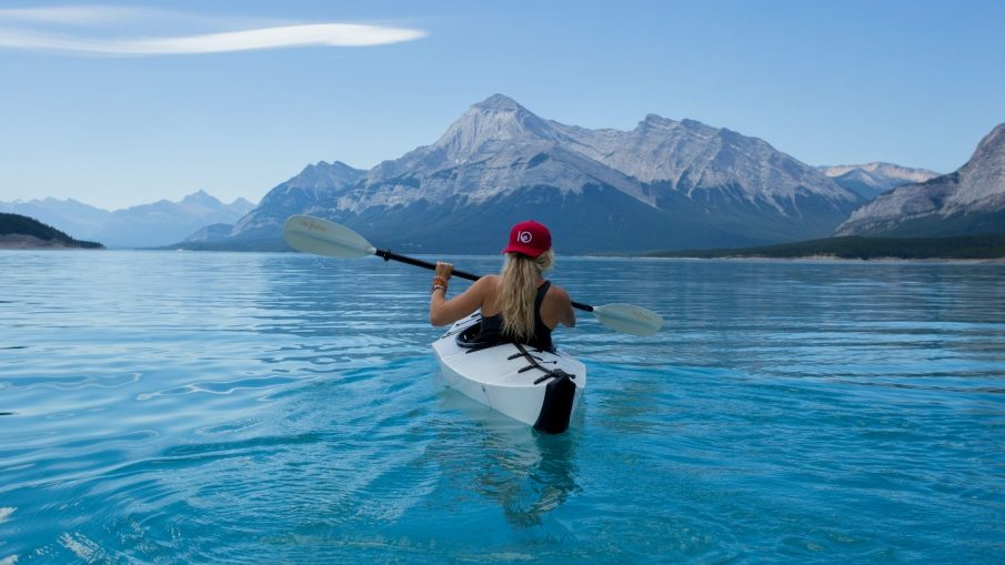 A woman enjoying a cocoa beach kayak expedition