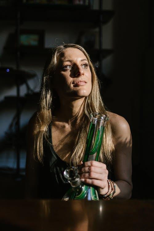 a green glass bong
